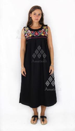 95310f54b Vestido artesanal mexicano bordado margaritas largo
