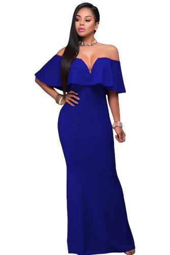 Vestido Largo Azul Rey Rebajas Diciembre Clasf
