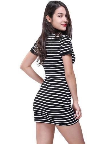 Vestido casual corto de rayas blanco y negro