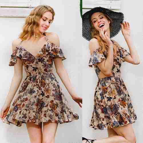 Vestido Casual Corto Floral Tipo Boho Moda 2019 Hemoso En