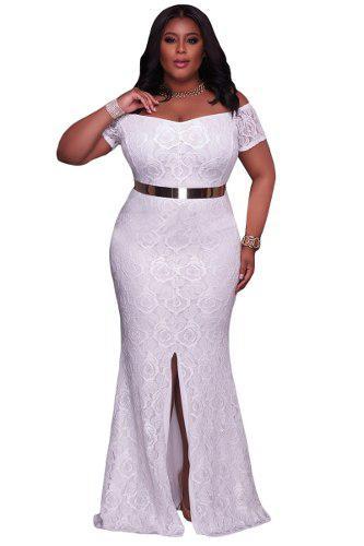 Vestido coctel blanco largo tallas extra plus envío gratis