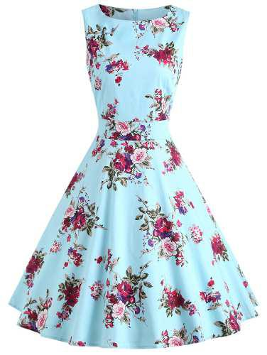 Vestido columpio cintura alto impresión floral vendimia