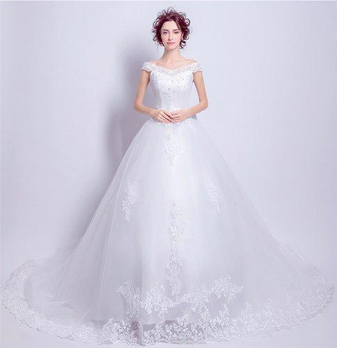 Vestido De Novia Espectacular Con Cauda 2 Corte Al Hombro En