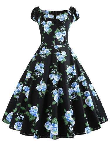 Vestido floral abotonado más tamaño de la vendimia, envío