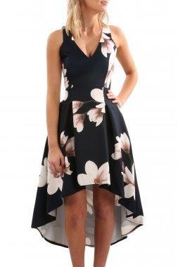 f77d54622 Vestido floral cola de pato con cuello v