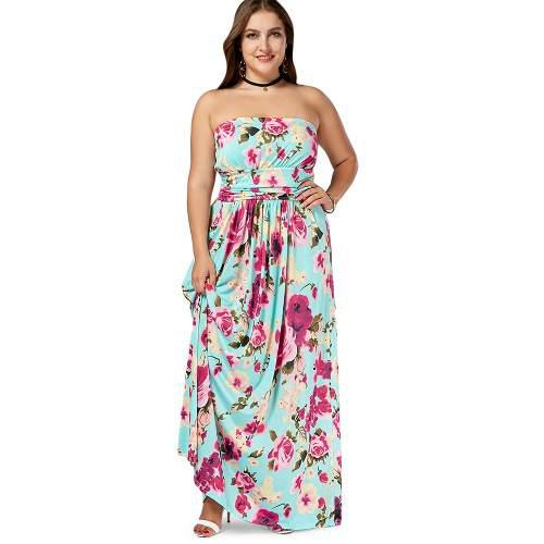 Vestido Largo Informal Sin Tirantes Floreado Para Mujer En