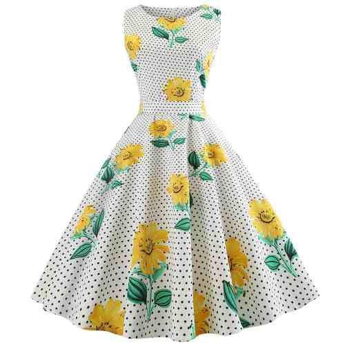 Vestido mujeres serie vendimia diseño impresión floral & p