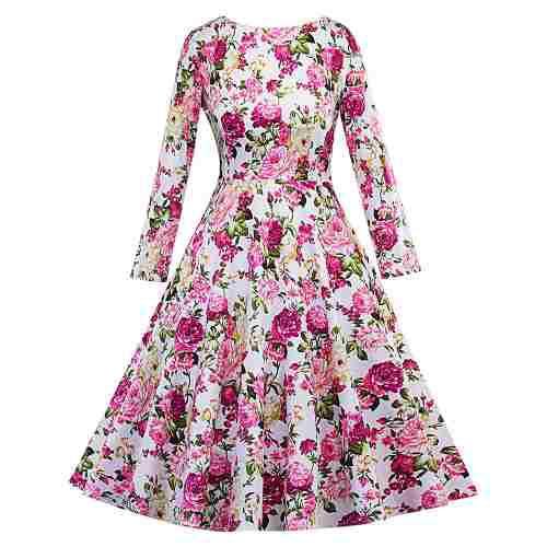 Vestido vendimia impresión floral ceñido la mujeres