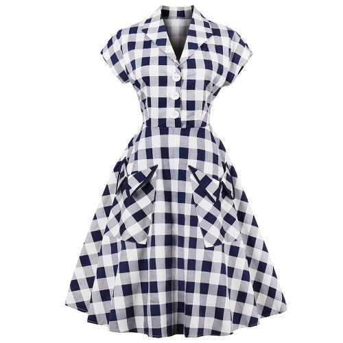 Vestido vintage estilo retro manga corta vestido plisado