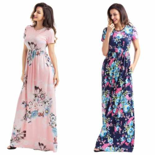 Vestidos largos tallas extras plus floreados moda casual