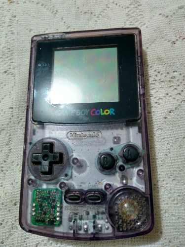 Gameboy color morado transparente con tapa original