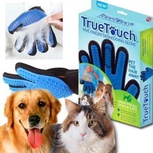 Guante cepillo quita pelo true touch mascotas perros gatos