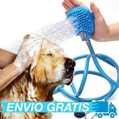 Manguera guante con cepillo silicón mascotas perros gatos