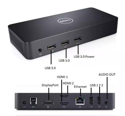 Docking station 4k dell d3100 usb 3.0 hdmi dp rj45 3 monitor