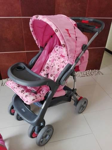321daa51c Carriola rosa d'bebé con auto asiento excelente condición