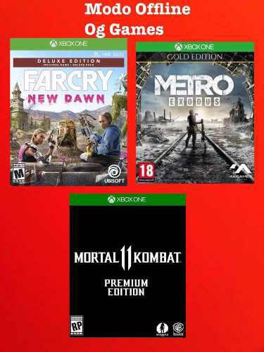 Far cry new dawn deluxe + metro exodus gold + mk11 xbox one