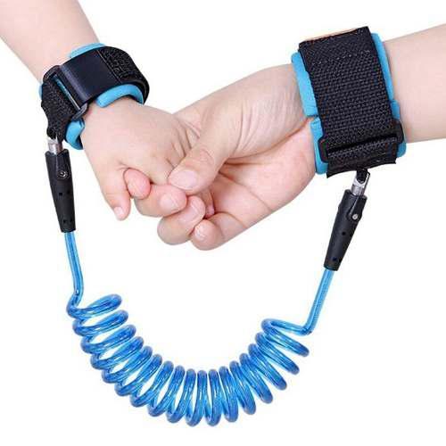 pulsera de eslabones 1.5 m ajustable para ni/ños azul ni/ños seguro para el arn/és del beb/é brazalete pulsera correa correa anti-perdida cuerda