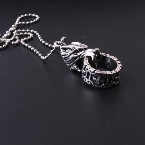2x1 dije lobo alfa acero con anillo talismán amuleto suerte