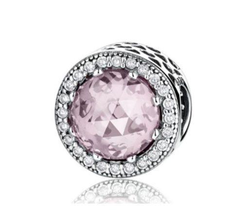 9eeee79e8f55 Charm plata y zirconias cristal rosa compatible con pandora