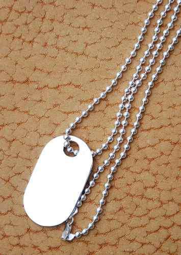 eb1ae519666e Dije de plata placa militar grande con cadena de bolitas 70