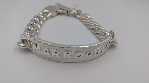 b3096406bd84 Esclava plata fina.925 grabado en plata gruesa doble broche