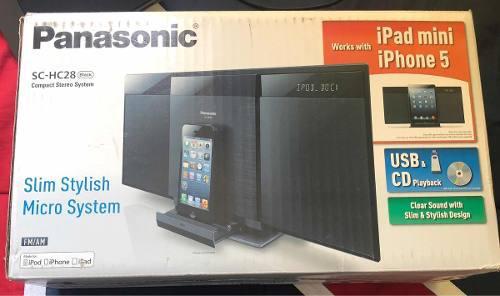 Bocina reproductor panasonic usb, cd, radio, iphone y ipad