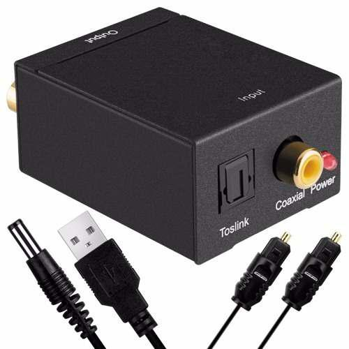 Convertidor de audio óptico a rca + cable toslink + envío