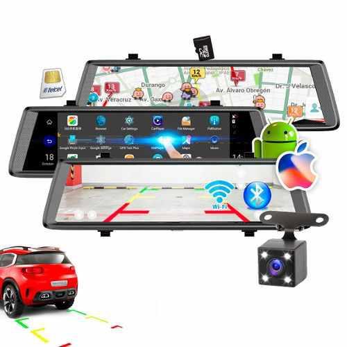 Retrovisor dvr android iphone 10' gps camaras wifi bluetooth