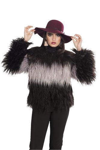 Chamarra mujer negra moda peluche fiesta elegante q83208