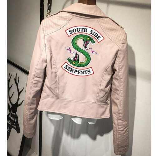 Chaqueta corta de moda de cuero de riverdale para mujer rosa