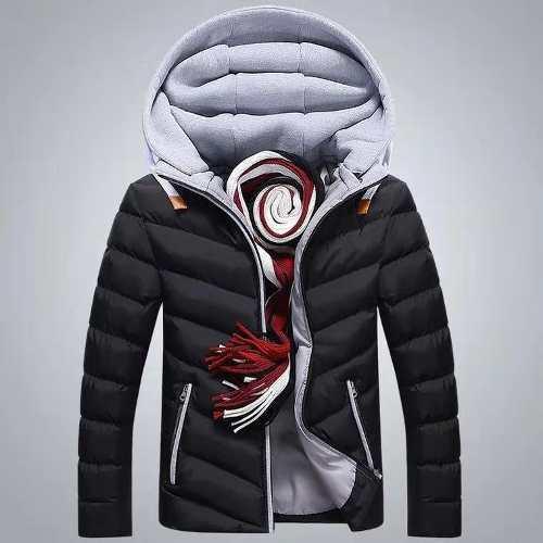 Chaqueta de invierno hombres abrigo cómodo con capucha moda
