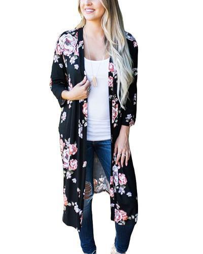 disponible lo último captura Kimono Para Mujer, Manga Larga, Abierto Con Diseño Floreado