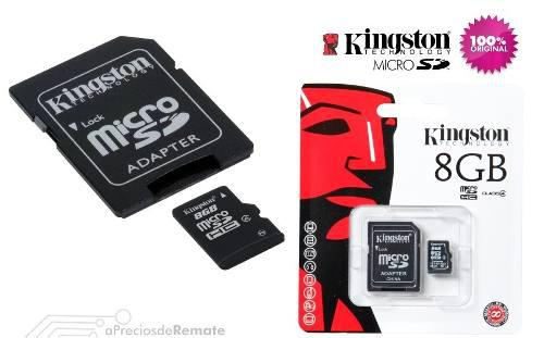 Memoria flash kingston 8gb microsd clase 10, con adaptador