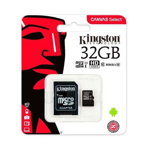 Memoria micro sd 32gb kingston canvas rapida clase 10 full
