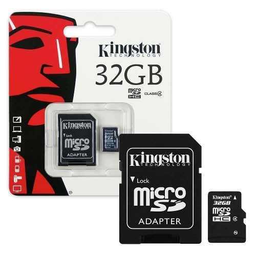 Memoria micro sd kingston, 32gb, clase 4, con adaptador