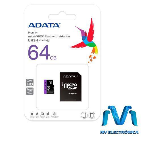 Memoria microsd 64gb adata 50mb/s 64 gb micro sd celular mv