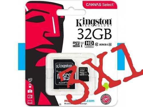Micro sd 32 gb kingston + adaptador usb (class 10)