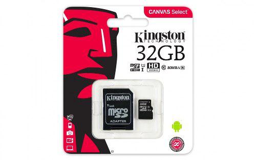 Micro sd 32gb uhs-i cl10 kingston movil tablet canvas select