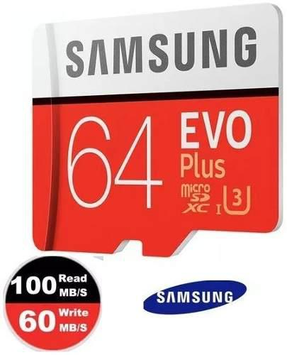 Micro sd 64gb u3 samsung evo plus 4k 100/60mbs memoria