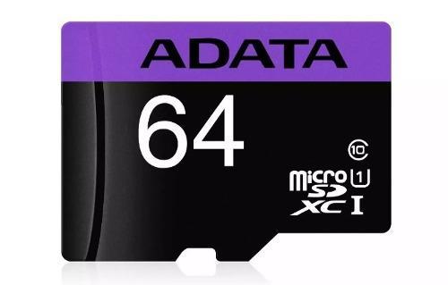 Micro sd para celular adata de 64gb clase 10