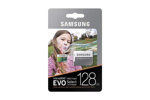 Micro sd samsung 128 gb evo select microsdxc clase 10 u3 4k