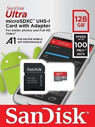 Micro sd sandisk ultra 128 gb clase 10 a1