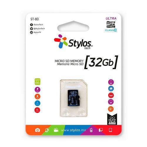Stylos * memoria micro sd 32gb clase 10 celular s/ adaptador