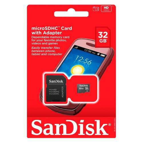 Tarjeta memoria micro sd 32gb clase 4 sandisk tablet celular