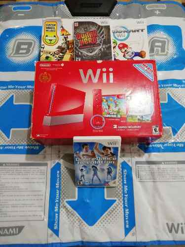 Nintendo wii rojo edicion especial excelente ¡equipado!