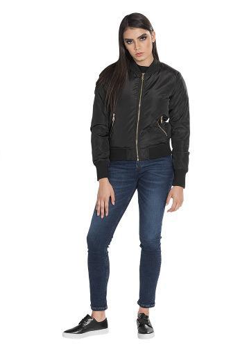 mejor sitio web textura clara tienda de liquidación Chamarra Mujer Bomber Jacket Casual Formal Vestir Negra