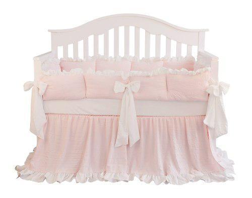 Blush juego de cama de cuna de color rosa coral con volante