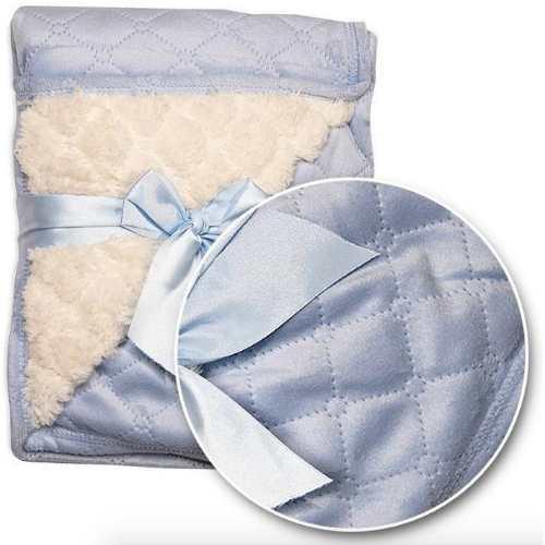 Cobija para bebe capitonado c/ borrega azul