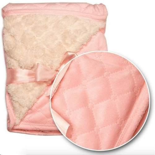 Cobija para bebe capitonado c/ borrega rosa