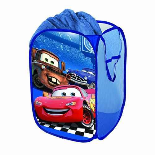 Disney cars rayo mcqueen azul infantil cesto ropa o juguetes